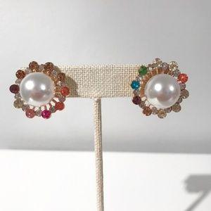 Jewelry - Pearl and Gem Starburst Earrings